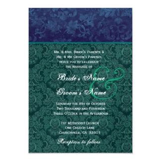 El casarse del damasco del trullo y de la marina invitación 12,7 x 17,8 cm
