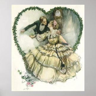 El casarse del navidad del Victorian del vintage Póster