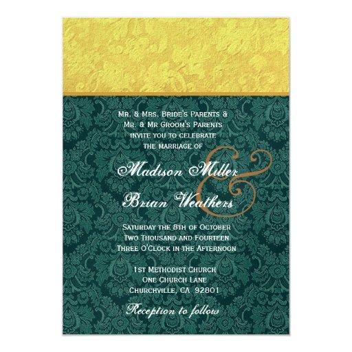 """El casarse del oro y del damasco de Forest Green Invitación 5"""" X 7"""""""