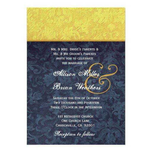 El casarse del oro y del damasco de los azules mar comunicado personalizado