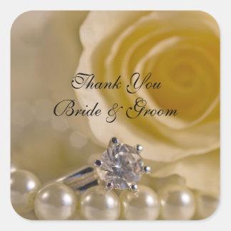El casarse del rosa blanco y de las perlas le pegatina cuadrada