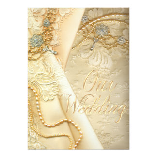 El casarse del vestido y de las perlas de boda del comunicado personalizado