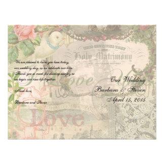 El casarse del vintage del collage de la boda flor tarjetas publicitarias
