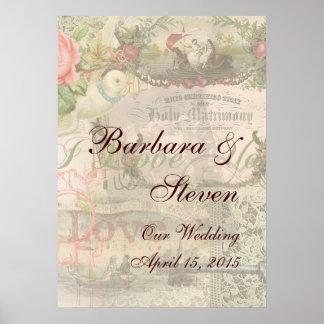 El casarse del vintage del collage de la boda flor póster