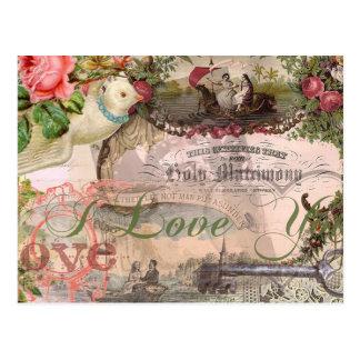 El casarse del vintage del collage de la boda flor tarjeta postal