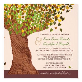 El casarse descendente de las hojas del corazón de anuncio