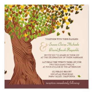 """El casarse descendente de las hojas del corazón invitación 5.25"""" x 5.25"""""""