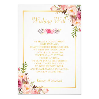 """El casarse deseando a oro bien floral elegante invitación 3.5"""" x 5"""""""