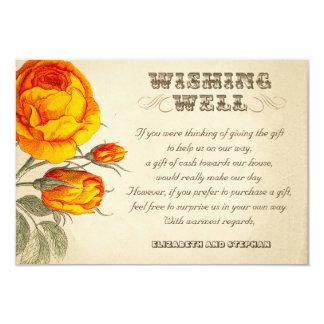 """el casarse deseando rosas bien del naranja del invitación 3.5"""" x 5"""""""