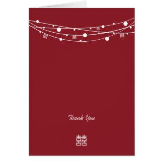 El casarse doble de las linternas de la felicidad  tarjeta pequeña
