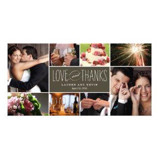 El casarse dulce de las memorias le agradece las tarjeta fotografica