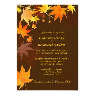 """El casarse elegante de las hojas de arce de Brown Invitación 5"""" X 7"""""""