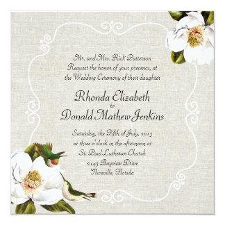 """El casarse elegante de las magnolias meridionales invitación 5.25"""" x 5.25"""""""