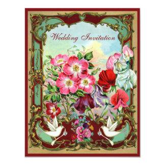 """El casarse elegante de las palomas y de las flores invitación 4.25"""" x 5.5"""""""