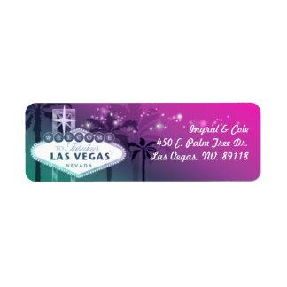 El casarse elegante de Las Vegas de las rosas Etiqueta De Remite
