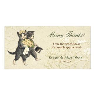 El casarse elegante de los gatos le agradece tarjetas fotograficas
