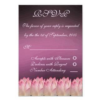 """El casarse elegante de RSVP de la flor de Lotus Invitación 3.5"""" X 5"""""""