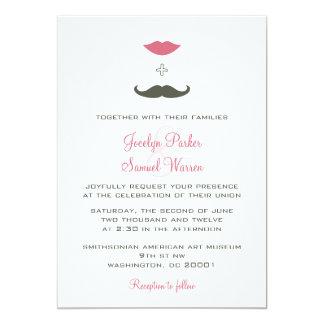 El casarse elegante del bigote y de los labios invitación 12,7 x 17,8 cm