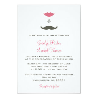 """El casarse elegante del bigote y de los labios invitación 5"""" x 7"""""""