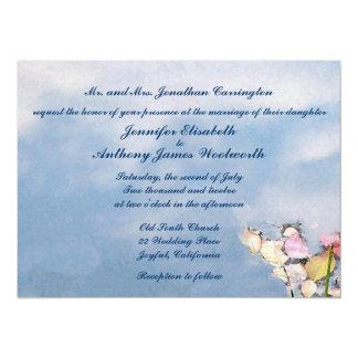El casarse en colores pastel de las reflexiones invitación 13,9 x 19,0 cm