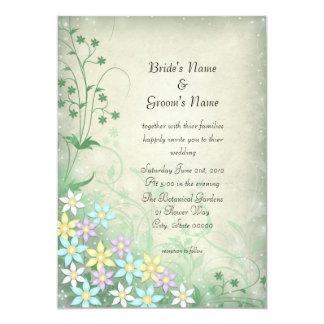 """El casarse en colores pastel ideal de las flores invitación 5"""" x 7"""""""