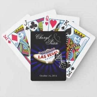 El casarse en Las Vegas azul y negro de Las Vegas Baraja Cartas De Poker