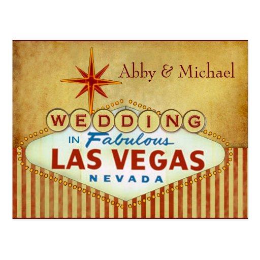 El casarse en Las Vegas fabuloso - rayas del vinta Postales