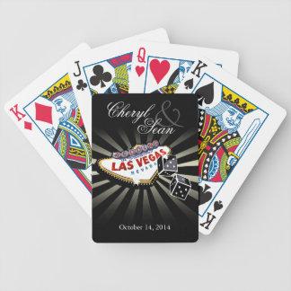 El casarse en Las Vegas negro y de plata de Las Ve Barajas De Cartas