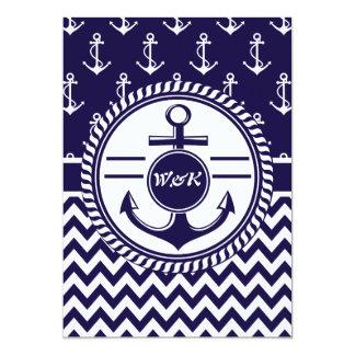 El casarse en una nave o anclas náuticas del barco invitacion personalizada