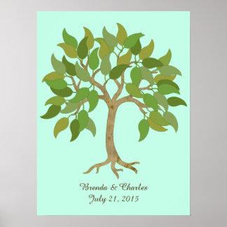 El casarse firma adentro el poster del árbol