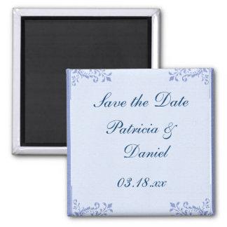 El casarse floral de lino azul de las esquinas imán cuadrado