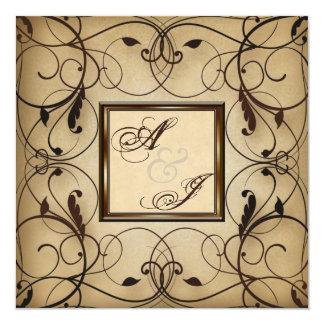 El casarse floral de los remolinos del vintage invitación 13,3 cm x 13,3cm