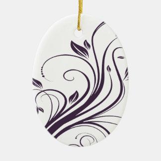 El casarse floral púrpura y de plata de los adorno navideño ovalado de cerámica
