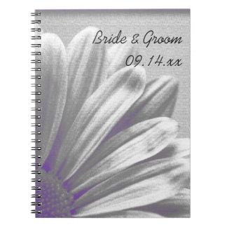 El casarse floral púrpura y gris de los puntos libretas espirales