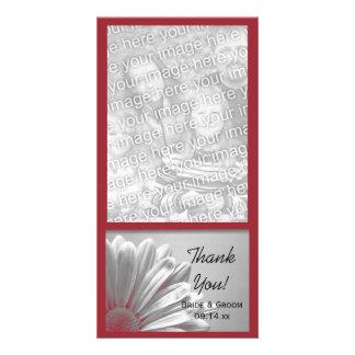 El casarse floral rojo de los puntos culminantes l tarjeta fotografica personalizada