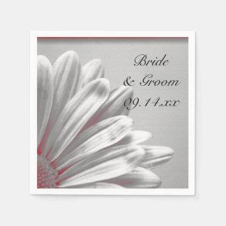 El casarse floral rojo y gris de los puntos servilletas desechables