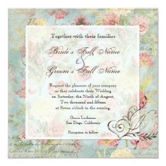 El casarse floral subió Peony de las flores del Invitaciones Personales