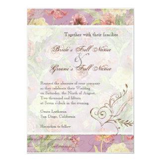 El casarse floral subió Peony de las flores del Invitación 13,9 X 19,0 Cm