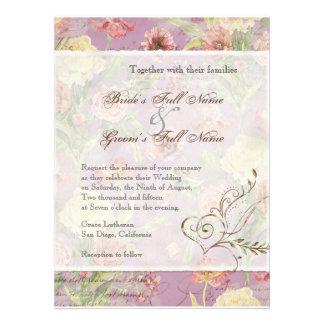 El casarse floral subió Peony de las flores del tu Invitación Personalizada