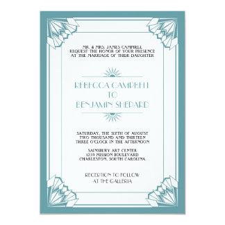 """El casarse geométrico azul del art déco de la edad invitación 5"""" x 7"""""""