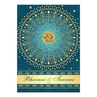 El casarse hindú de las volutas del oro del trullo