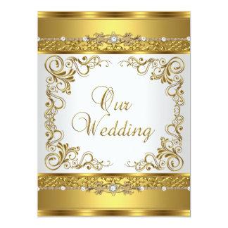 El casarse invita al diamante metálico del blanco invitacion personal
