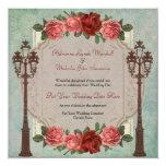 El casarse italiano de las lámparas y de los rosas invitación 13,3 cm x 13,3cm