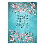 El casarse japonés rosado azul de las flores de ce invitacion personalizada