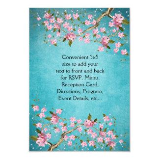 """El casarse japonés rosado azul de las flores de invitación 3.5"""" x 5"""""""