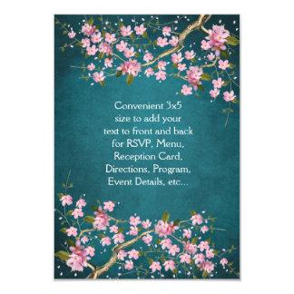 """El casarse japonés rosado de las flores de cerezo invitación 3.5"""" x 5"""""""