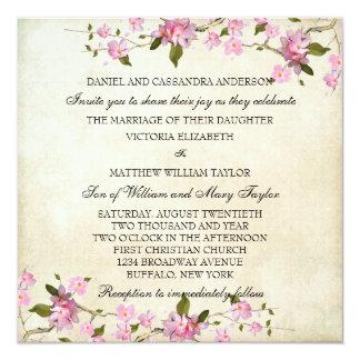 """El casarse japonés rosado de las flores de cerezo invitación 5.25"""" x 5.25"""""""
