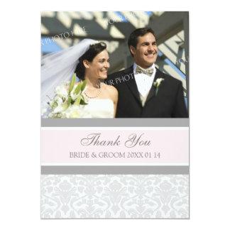 El casarse le agradece damasco del gris de las invitación 12,7 x 17,8 cm