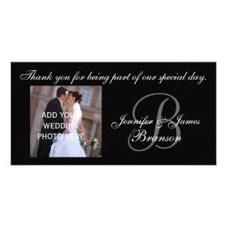 El casarse le agradece el monograma B y mensaje Plantilla Para Tarjeta De Foto