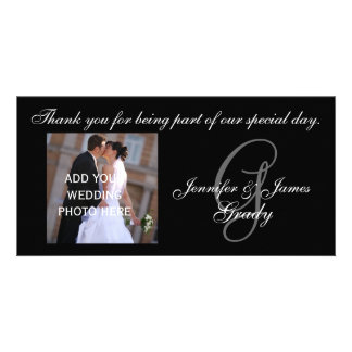 El casarse le agradece el monograma G y mensaje Tarjeta Con Foto Personalizada